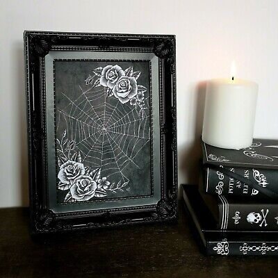 Web & Roses Art Print Gothic Home Decor Gift Spider Cobweb Occult Witch Spooky