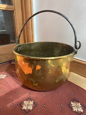 Antique Brass Cooking Pot With Cast Iron Handle 38 Cm