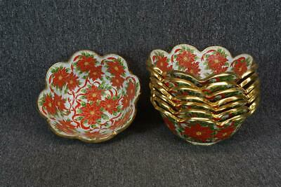 """10"""" Wide Set Of 8 Painted Brass Bowls With Floral Design"""