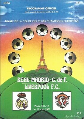 1981 European Cup Final Replica Programme Real Madrid V  Liverpool