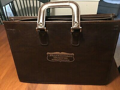 Vintage American States Insurance Advertising Briefcase Tote Brown