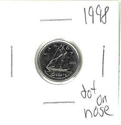 10 cent canadian 1998 dot on nose *free shipping*