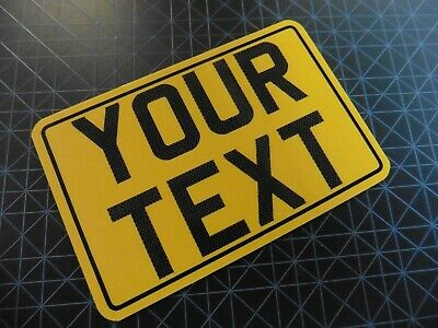 8x6 + CARBON + Border yellow kids text age motorcycle NOT number plate metal