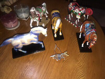 Trail of Painted Ponies Lot Of 5 Preowned (No Boxes) & Reindeer Roundup Orn.