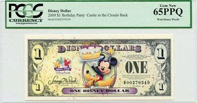 Disney Dollar 2009 D $1 Birthday Party (Castle in the Clouds) PCGS Gem New 65PPQ