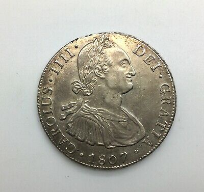 1807 PTS PJ  8 Reales  Bolivia Nice Colonial Coin with Lustre KM#73