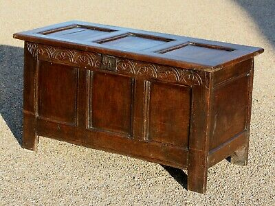 Antique Late 17th Century three paneled oak coffer with lunette carved frieze