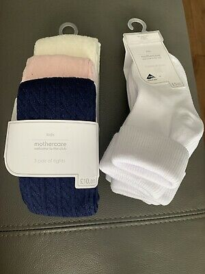 Mothercars Girls 1-2 Years Pack Of 3 Pink/navy & Cream Tights And 5 White Socks