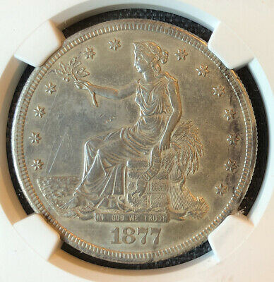 1877 S Silver Trade Dollar NGC AU Details Cleaned