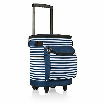 ONIVA - a Picnic Time Brand Insulated Portable Rolling (Navy/White Stripe)