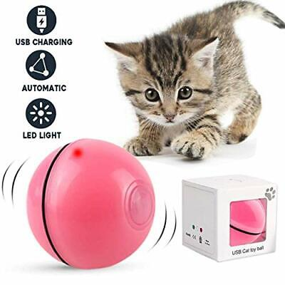 Cat Toys Balls Interactive Automatic Self Rotating Rolling Balls for Cat (Pink)