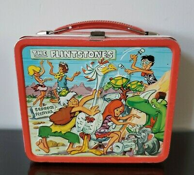 Vintage FLINTSTONES 1971 Metal LUNCH BOX - Pebbles & Bamm-Bamm