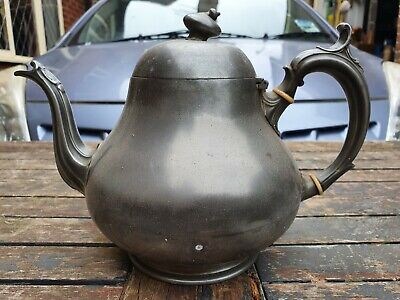 Antique Shaw And Fisher Sheffield Pewter Teapot for restoration