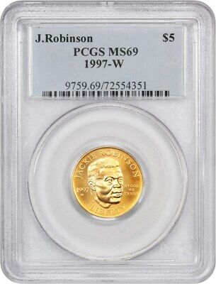 1997-W Jackie Robinson $5 PCGS MS69 - Modern Commemorative Gold