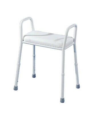 Aluminium Shower Stool with Padded Seat, height adjustable with arms