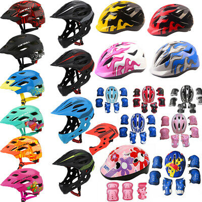 Kids Bike Full Face Helmet Bicycle Skate Knee Elbow Pad Gear Guard Safety Helmet
