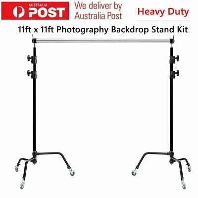 Heavy Backdrop Stand Screen Background Support Kit w/ Caster Wheel Photo Studio