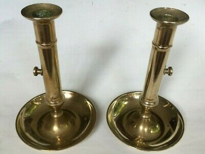 Beautiful Pair Of Antique 19Th Century French Brass Push Up Candlesticks