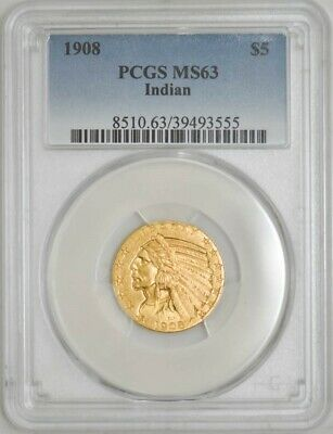 1908 $5 Gold Indian MS63 PCGS 942948-17