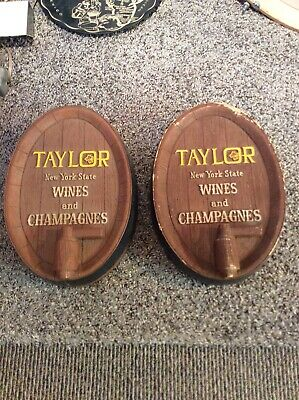 Vintage TAYLOR New York State Wines and Champagnes Barrel Bar Sign Wall Plaque