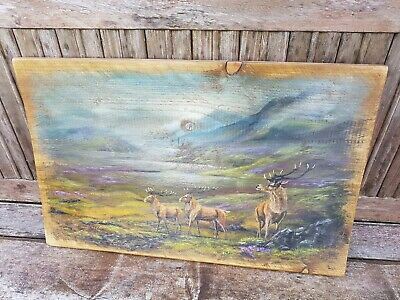 Beautiful Highland Stag hand painted scene on wood board remnant