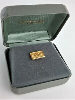 EXXON Oil 10K Gold Lapel Pin by O. C. Tanner in Clamshell Box