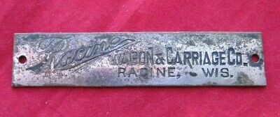 Antique Racine Wagon & Carriage Co. Racine, Wis. Name Plate