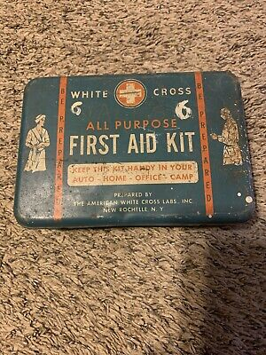 Vintage White Cross First Aid Kit Blue Metal Tin Empty