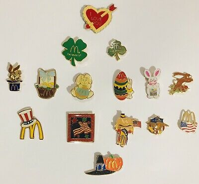 15 MCDONALDS Holiday Employee Enamel Pins EASTER St. Patrick's Day THANKSGIVING
