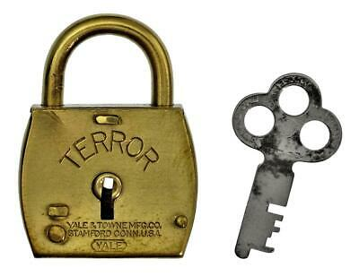 Vintage Padlock YALE TERROR Brass Case with Key - 43.8mm Tall - P520