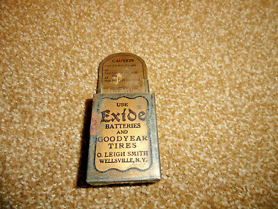 30's? EXIDE BATTERIES  GOODYEAR TIRES MATCH BOX ADVERTISING TIN LITHO OIL GREASE