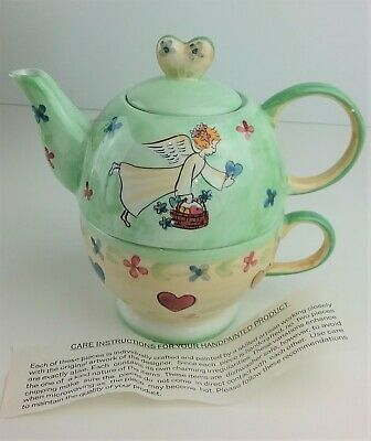 Mesa Cup and Tea Pot Angel w Hearts  & Flowers Theme Ceramic NEW