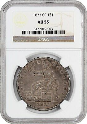 1873-CC Trade$ NGC AU55 - Tough Carson City Issue - US Trade Dollar