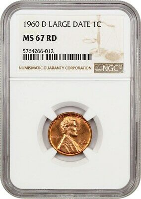 1960-D 1c NGC MS67 RD (Large Date) Lincoln Memorial Small Cents (1959-2008)