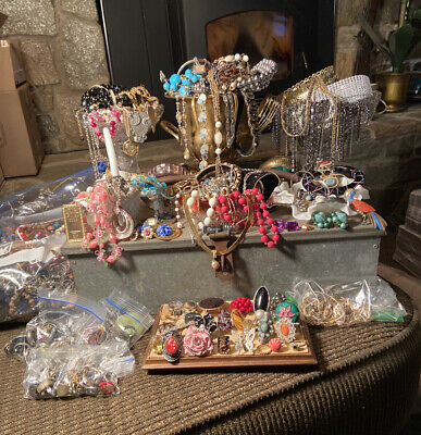 Lot Of Costume Jewelry- 2LB+ Surprise Grab Bag; Vintage Now- Wear, Resell, Craft