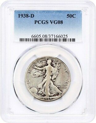1938-D 50c PCGS VG-08 - Low Mintage Issue - Walking Liberty Half Dollar