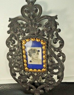 """ANTIQUE VICTORIAN CAST IRON w/GILDED BRONZE 11"""" x 6.29 """" FIGURAL Picture Frame"""