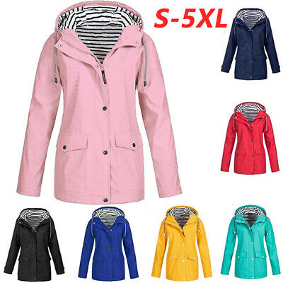 Womens Waterproof Raincoat Ladies Outdoor Wind Rain Forest Jacket Coat Mac 8-22