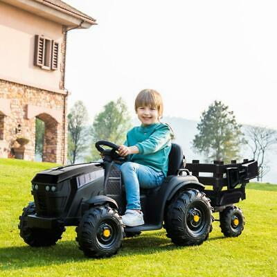 12V Kids Ride On Tractor Car Toy Electric Battery MP3 2 speed with Trailer BLACK