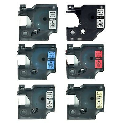 6PK 45010 45013 45016 45017 45022 45023 Label Tape For Dymo D1 LabelManager 12mm