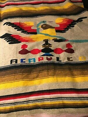 Vintage Handwoven Serape Acapulco Mexican Throw Blanket With Phoenix-Bird-Snake