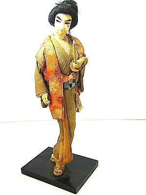 "Japanese Samurai Warrior Figure Statue Doll Vtg Sword Clothing 15"" - Restore * R"