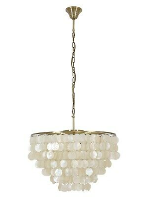 Dunne 6 Light Pendant or Close to Ceiling Fitting in Antique Brass