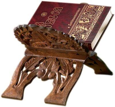 Autom 15 Inch Carved Wood Collapsable Tabletop Bible Stand Holder N.G.