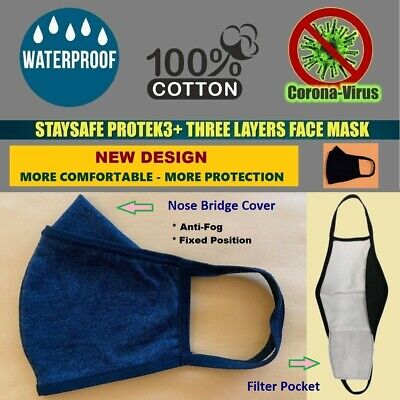 Lot BLUE 3 Pack-StaySafe Three Layer Cloth Face Mask Reusable Unisex 100% Cotton