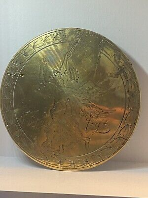 Antique Tempus Fugit Brass Dial with Engraved Angelic Figure