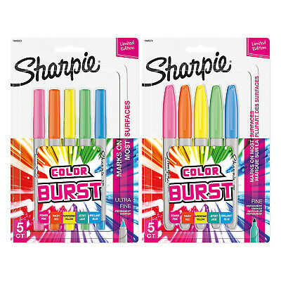 Sharpie Color Burst Permanent Markers 5PK Fine Point + 5PK Ultra Fine Point Ast.