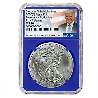 2020 (P) $1 American Silver Eagle NGC MS70 Emergency Production Trump ER Label B