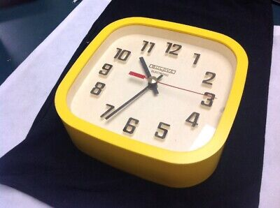 Vintage Wall Clock BULOVA Mid-Century Modern Yellow Square Made in Canada WORKS
