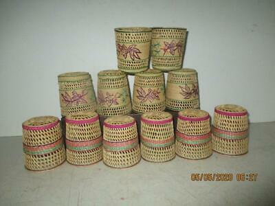 "Vtg12 Hand Woven Wicker Drinking Glass Cozies Holders 3"" Tall x 2-1/2"" Wide '60s"